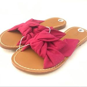 SOLUDOS Fuchsia Linen Knotted Strap Slide Sandals